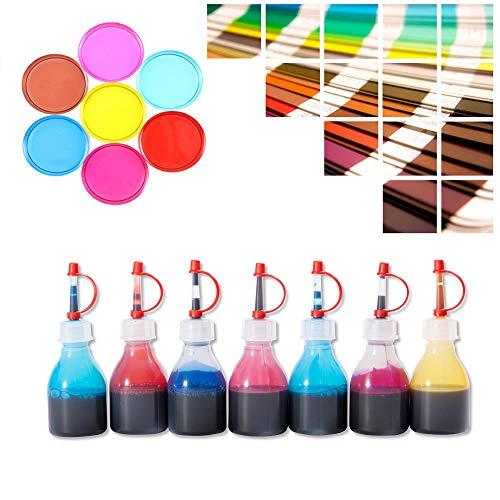 Epoxidharz Farbstoff transparent Set 7 x 20ml | Farbe für Giessharz durchsichtig | Einfärben von Epoxid-Harz | Rivertable, Bastelarbeiten, Schmuck | BM-FTP -
