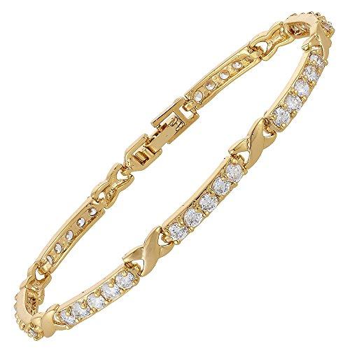 RIVA XOXO Verknüpfung Tennis Armband [18cm/7inch] mit Rundschliff Edelstein Zirkonia CZ [Weiß Topas] in 18K Gelbgold Vergoldet, Einfache Moderne Eleganz -