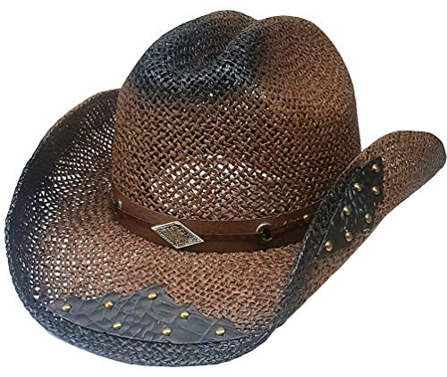 Modestone Straw Cowboy-Hut Breezer Metal Concho Studs Appliques Brim Brown
