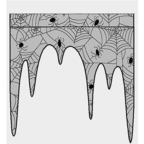 Sunjing Halloween-Dekoration Cobweb Kamin Cover-Schal Schwarze Spitze Spiderweb-Mantel Für Halloween-Party-Tür Fensterdekoration Schwarz 105 X 107Cm