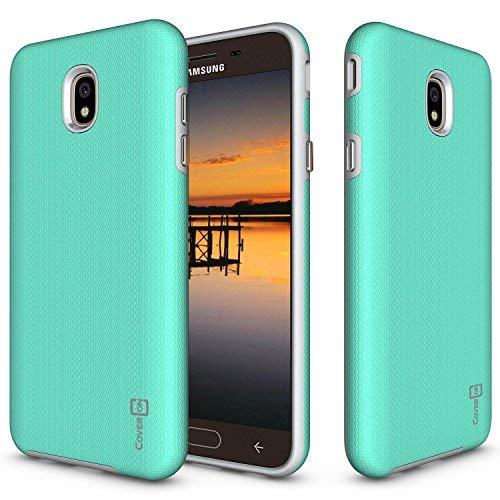 Samsung Galaxy J7V 2nd Generation Fall, Galaxy J72018/J7Verfeinern/J7Star/J7Aero Case/J7Krone, coveron [Robuste Series], Handy Cover mit Easy-Press-Metall Knöpfe, Mint (Kind Handys Att)
