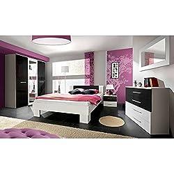 JUSThome VICKA II 160 Conjunto dormitorio habitación de matrimonio Blanco Mat / Negro Brillante I