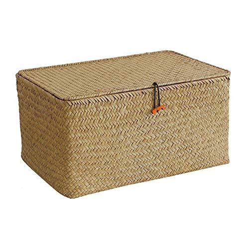 Merssavo Küchenkorb Stroh Organizer, Seagrass Rattan Aufbewahrungsbox Gewebt Stroh Kinder Desktop Spielzeug Finishing Box Haushaltswaren Goods 6# -