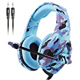 ATUTEN Gaming Headset f�r PS4 PC,Onikuma K1-B 3.5mm �ber-Ohr Stereo PC Gaming Headset,Xbox One Gaming Headset,Gaming Kopfh�rer mit Mikrofon,Noise Isolating Lautst�rkeregler f�r Laptop Mac Smartphone Bild