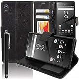 Hülle Cover Etui wallet-Etui Halterung Video Buch klappe Kunstleder für Sony Xperia Z5 E6603 E6653/ Z5 Dual E6633 E6683 - SCHWARZ + Eingabestift