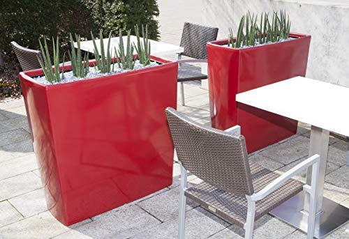 Degardo Trevia 900 K - Design-Pflanzgefäß, 90cm x 39cm x 90cm, Pflanzbank - Pflanzvase - Pflanztopf - Dekovase - Raumteiler - Frostsicher - Bruchfest - Innen und Außen - Made in Germany (rubinrot)