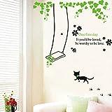 HCCY Gatito por Igual Swing dormitorios Decorados en albergues Wallpaper publicado los dormitorios Pueden extraerse y Fijar a la Pared TV Pintura Mural de 140 * 90cm Autoadhesivo