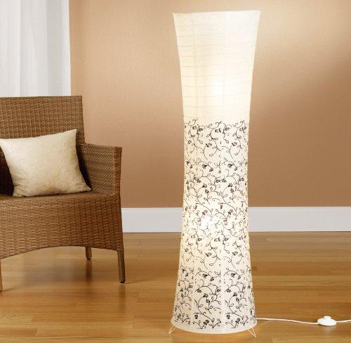 Trango® - Lampada a piantana in carta di riso, 125 x 35 cm Stehleuchte in weiß mit floralem Design TG1240