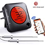 Bfour Bluetooth Meat Thermometer Smart Wireless Digital BBQ Thermometer APP Controlled with 2