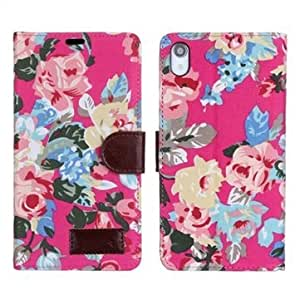 Generic Patchwork Flowers PU Leather Protective Case for SONY Xperia Z2