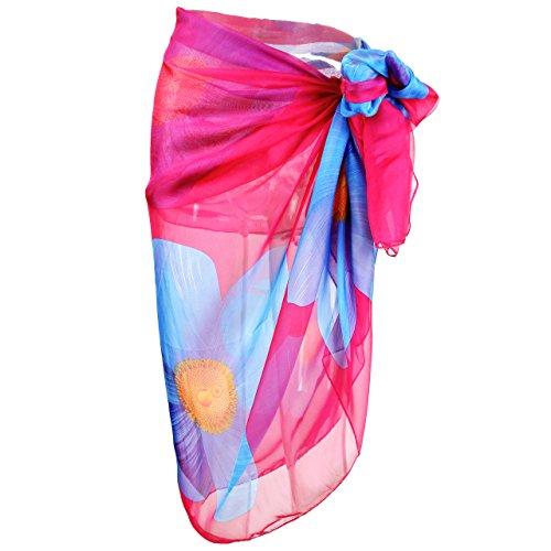 CHIC DIARY Damen Frauen elegant Sarong Pareo Strandtuch Bikini Wickelrock Wickeltuch farbig geblümt gedruckt Strand Schal Halstuch (Große Blume(Pink), 195cmx135cm)
