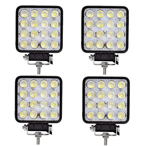 4 X 48W LED arbeitsscheinwerfer Offroad 12V 24V Quadrat Scheinwerfer Weiß 6500K Arbeitslicht Flutlicht für SUV UTV ATV Arbeitslampe