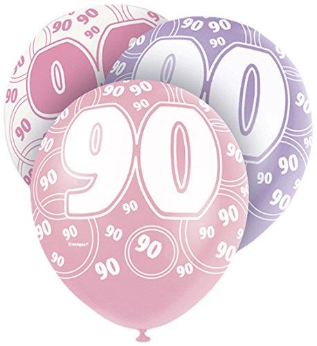 12-latex-glitz-pink-90th-birthday-balloons-pack-of-6