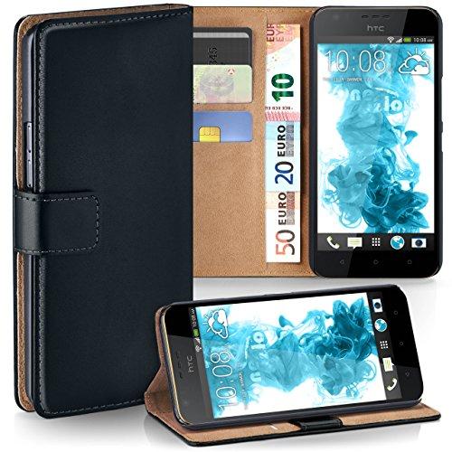 moex HTC Desire 10 Lifestyle | Hülle Schwarz mit Karten-Fach 360° Book Klapp-Hülle Handytasche Kunst-Leder Handyhülle für HTC Desire 10 Lifestyle Case Flip Cover Schutzhülle Tasche