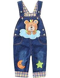 ACMEDE - Salopette Jean Enfant Bébé Garçon Fille Pantalon Combinaison À Bretelle Motif Animal Ours Jumpsuit Jeans