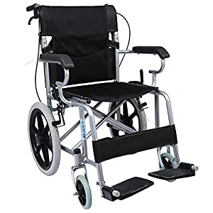 EMOGA Transport Wheelchair With 11Kg Lightweight Steel Frame, Antimicrobial Protection, Folding Chair Is Portable, Large 16 Inch Back Wheels, 18 Inch/46Cm Wide Seat, With Handbrakes