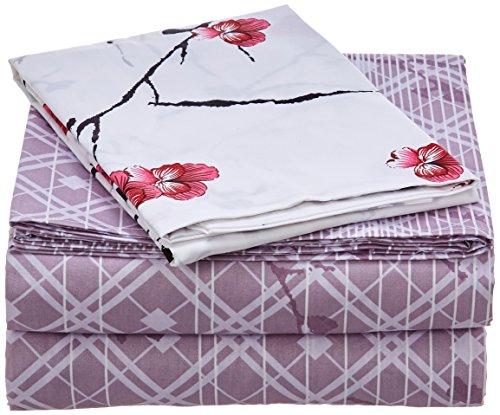 Dada Blühender Bettwäsche mit Blumenmuster Sakura Kirschblüten rot weiß lila flach Blatt Set mit Kissen Sham Cover-Twin-2-teilig