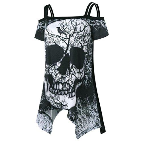 Damen Shirt, Beikoard Frauen Kurzarm unregelmäßige offene Schulter Schädel Taschentuch T-Shirt Top Bluse Schulter Schlinge Drucken Mantel Tops (Schwarz, XL) (Schädel Frauen Kleidung)