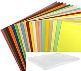 DALTON MANOR A4 -100 Sheet - 20 Assorted Colour 160gm Mini Mega Card Pack in a Weston Storage Box , high quality orange, black, blue, green, red, yellow, pink. Stationery scrap book card