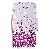 Chreey Coque iPhone 5 5S Se, Modèle de Mode Étui en Cuir PU Magnétique Flip Cover Housse à Rabat avec Portefeuille et Fente pour Carte [Amour Pluie]