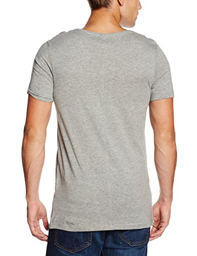 JACK & JONES Herren T-Shirt Jorsean Tee Ss Crew Neck Grau (Light Grey Melange Detail:MELANGE. SLIM)