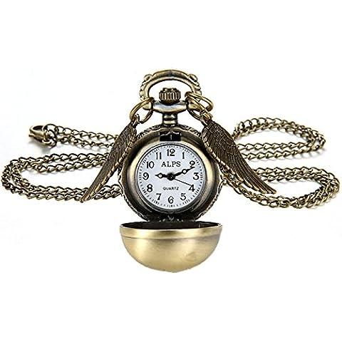 Gudeke Las alas del ángel colgante de Steampunk de la aleta del reloj de bolsillo collar