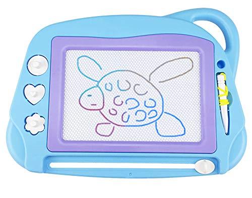 Lavagna magnetica per bambini, 4 colori colorati lavagnetta magica portatile cancellabile con 3 timbri magnetici e 1 penna-giocattoli da disegno dimensioni da viaggio per bambini 3 4 5 anni- blu