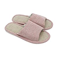 APIKA Women's and Men's Cotton Flax Casual Soft Light Open Toe Slippers Comfortable and Breathable House Slippers Anti-Slip for Indoor and Outdoor (Red 38/39 EU)