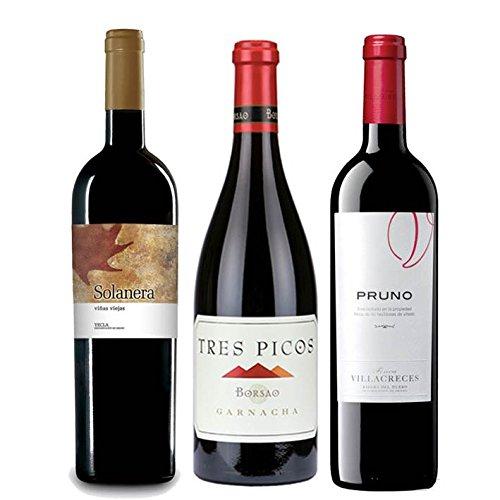 Pack Mejores Vinos Españoles Value Según Parker 3 Botellas. 1 Solanera, 1 Pruno, Y 1 Borsao Tres Pico