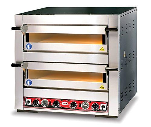 GMG Profi Pizzaofen für Gastronomie, 2 Backkammern, 6+6 x Ø30cm Pizzen, 62x92x15cm, bis 450°C