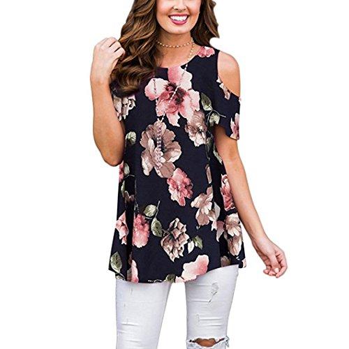 VEMOW Sommer Elegante Frauen Damen Blumen Kalte Schulter T-Shirt Rundhals Tank Casual Täglichen Party Tops Bluse(Marine 3, 46 DE/XL CN)