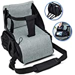 KIDUKU Travel Booster seat Foldable - Ideal as high Chair for Babies & Toddlers for Journeys, Green
