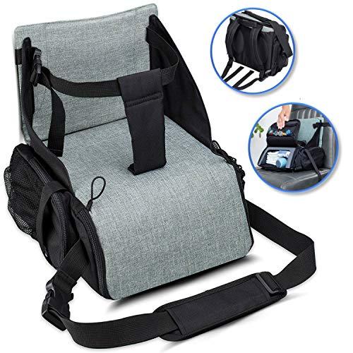 KIDUKU Boostersitz faltbar, mobiler Kindersitz als Sitzerhöhung und Reisesitz, ideal als Hochstuhl für unterwegs für Babys & Kleinkinder