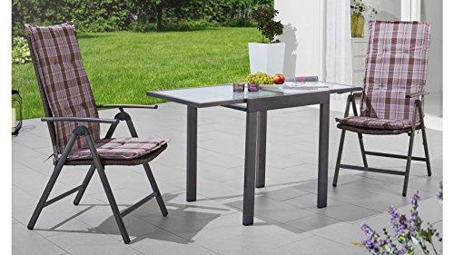 MERXX Gartenmöbelset Pavia, 5-tlg., 2 Hochlehner, Tisch 65-130 cm, Polyrattan/Stahl braun, grau