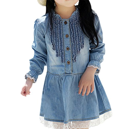 Etosell Kids Baby Girls Retro Lace Denim Dress Princess Jeans Long Sleeve One-piece (XXL (140)/6-7 Year)