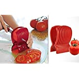 [Sponsored]GTC Tomato Slicer Gadgets Kitchen Tools Plastic From Potato Onion Fruits Vegetables Tomato Slicers Cutter Slicer Cup Holder - Red ( IT N - 561 )