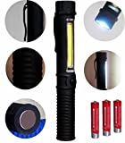 Portable LED Work Light Flashlight and Ultra-Bright COB Flood Light with Clamp and Magnet,Great for Home, Auto, Camping, Emergency Kit,Workshop and More!Plus FREE Batteries