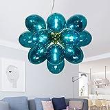 GYDD Kronleuchter Deckenleuchte Mittelmeer Farbe Magic Bean Glas Bubble Ball Beleuchtung für Wohnzimmer/Schlafzimmer/Restaurant (Farbe : Blue)