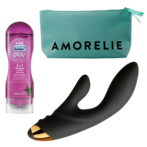 VOU by AMORELIE erotisches Set - Rabbit Vibrator Schwarz 14 Vibrationsmodi Silikon Toy VIRGO