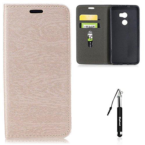 HTC One X10 Hülle, HTC One X10 Tasche Leder, Huphant Flip Case Leder [Auto-Magnet Wood Print Serie]PU Leather Case Wallet Case Magnet Case Schutzhülle Klappbar für HTC One X10(5,5 Zoll) - Luxury Gold