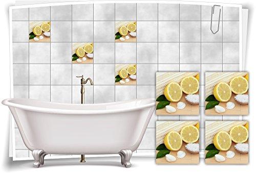 Muschel-salz (Medianlux Fliesenaufkleber Fliesenbild Zitrone Muschel Salz Wellness SPA Auszeit Deko Aufkleber Fliesen Bad WC, 25x25cm)