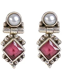 Silverwala 925-92.5 Sterling Silver Pearl, Ruby, Cubic Zirconia, Onyx, Emerald, Turquoise, Stone Fashion Stud Earring drops danglers for Women and GirlS (RED)