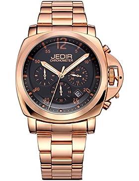 jedir Chronometer roségoldenem Herren Quarz Datum Armbanduhr Schwarz Zifferblatt Leuchtzeiger