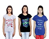 Indistar Girls Printed Cotton T-Shirt (Pack of -3)
