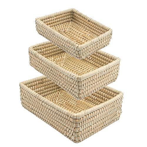 Set FLECHTKOERBE KAISAGRAS RECHTECKIG - Brot Obst Regal Korb - Handarbeit - FAIR Trade -
