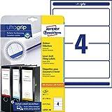 AVERY Zweckform L4761-10 Ordnerrücken Etiketten (mit ultragrip, 61 x 192 mm auf DIN A4, breit/kurz, selbstklebend, blickdicht, bedruckbare Ordneretiketten, 40 Rückenschilder auf 10 Blatt) weiß