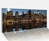 Acrylglasbild 100x40cm Manhattan Nacht Skyline New York USA Acrylbild Glasbild Acrylglas Acrylglasbilder 14A1447, Acrylglas Größe1:100cmx40cm
