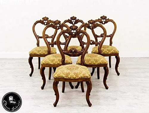 Classic Interior 6 Stühle Esszimmer Italien Antik Barock Stilmöbel Stilmöbel