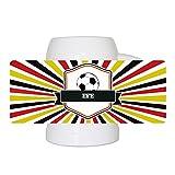 Fußball-Bierkrug mit Namen Efe und schönem Motiv mit Wappen , Ball und Strahlen in schwarz-rot-gold - Fan-Bierkrug personalisiert - Deutschland-Krug - Bierhumpen