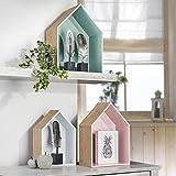 3-er Set Holzhaus-Regal | stehend oder hängend | farbig – bunt | Wandregal | Wanddeko | Regal in Hausform | Regalbox